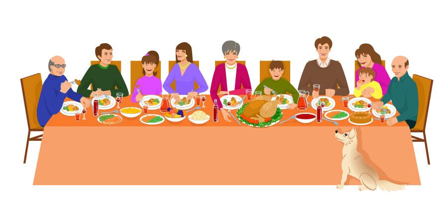 Pets and food at thanksgiving